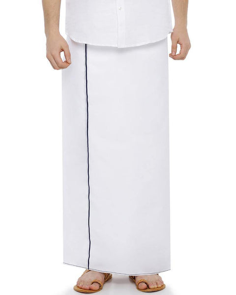 H2O- Double Dhoti With Navy Blue Small Border