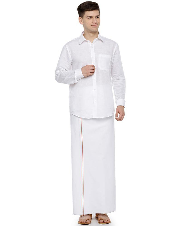 Hi-tech- Single Dhoti With Orange Small Border