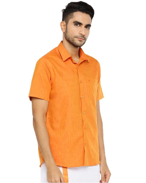 Varna Fancy Border Dhoti & Shirt Set Half Sleeves Orange