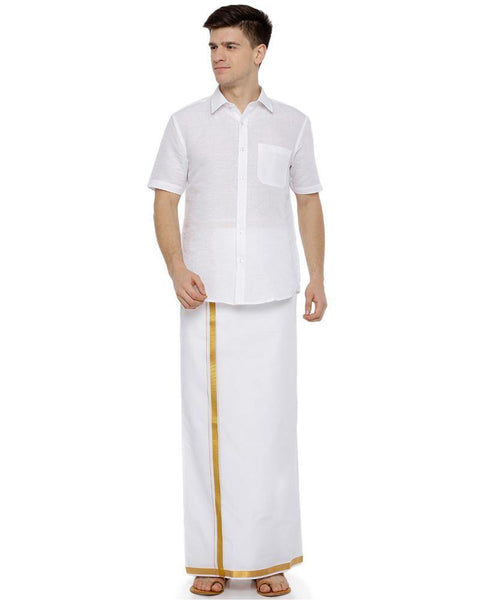 "Yonex Double White Jari 3/4"" Pocket Dhoti"