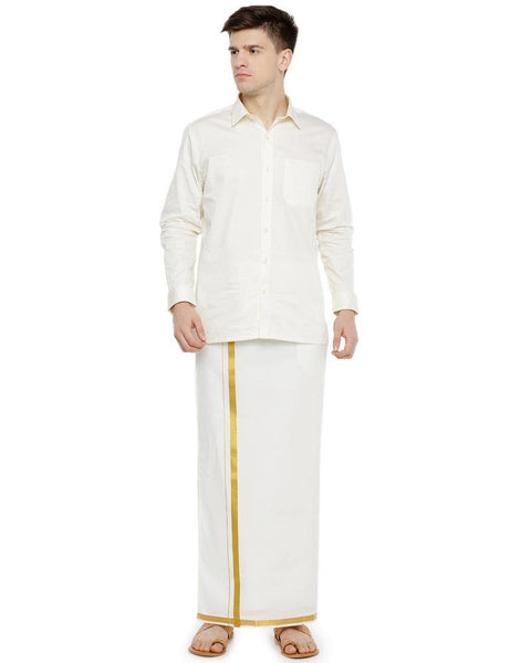 Fixit Single Jari Cream - Free Size Pocket Dhoti
