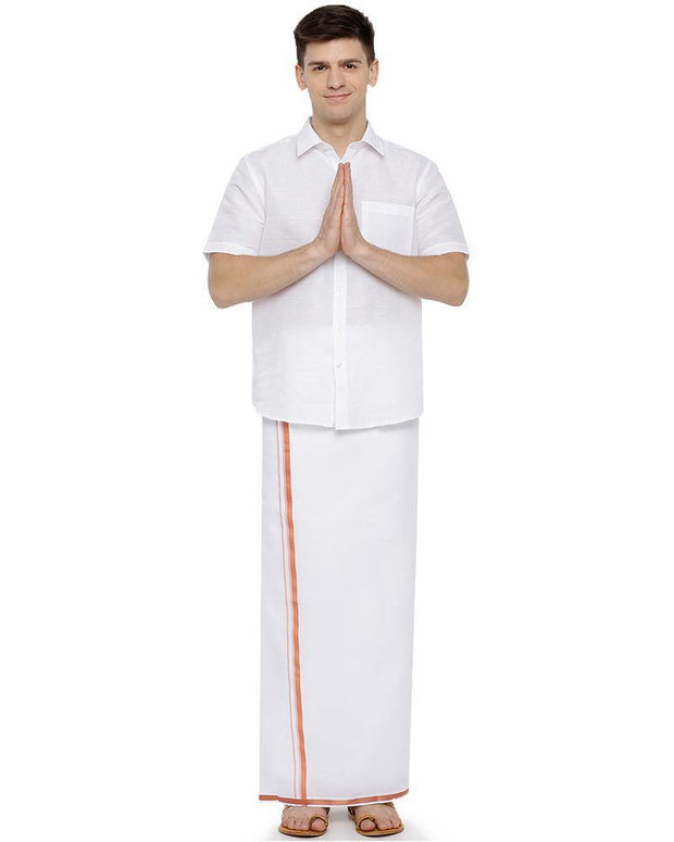 Garland -  Double Dhoti With Orange Big border