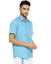 Varna Fancy Border Dhoti & Shirt Set Half Sleeves Light Blue