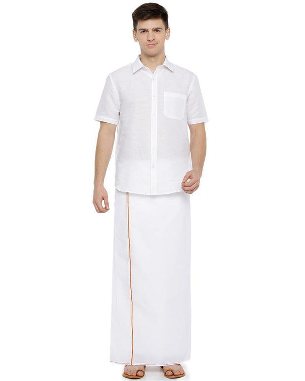 Hi-tech - Single Dhoti With Yellow Small Border