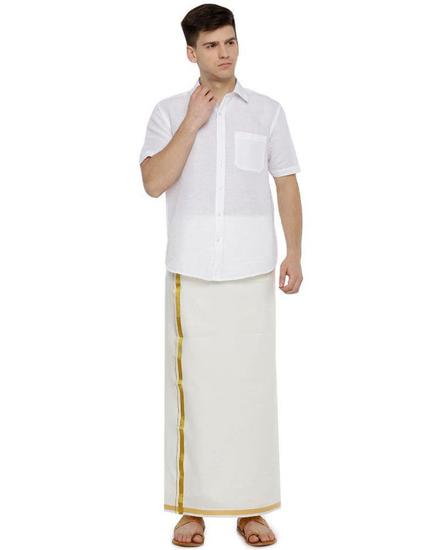 Wallmart Cream Jari - Single Cream Jari Pure Cotton Dhoti