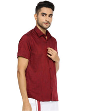 Varna Fancy Border Dhoti & Shirt Set Half Sleeves Maroon
