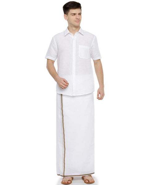 Garland -  Double Dhoti With Brown Big border