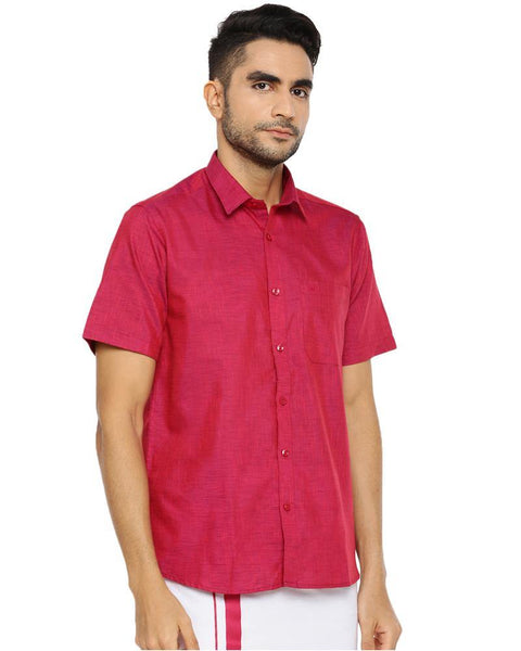 Varna Fancy Border Dhoti & Shirt Set Half Sleeves Soft Red