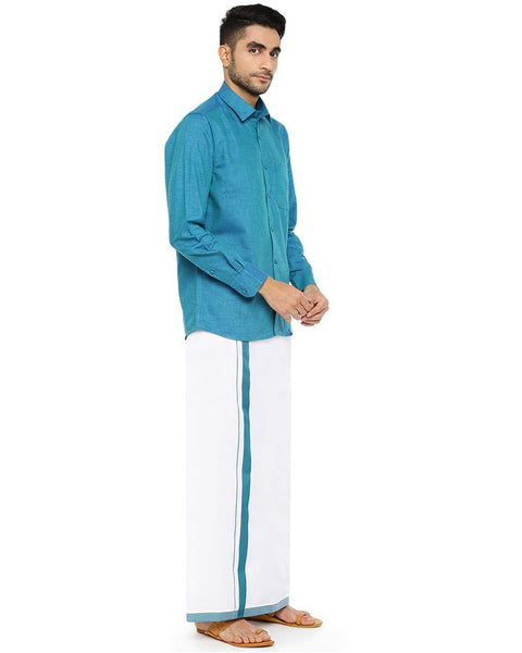 Varna Fancy Border Dhoti & Shirt Set Full Sleeves Ramar Blue