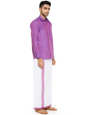 Varna Fancy Border Dhoti & Shirt Set Full Sleeves Light Purple-11019