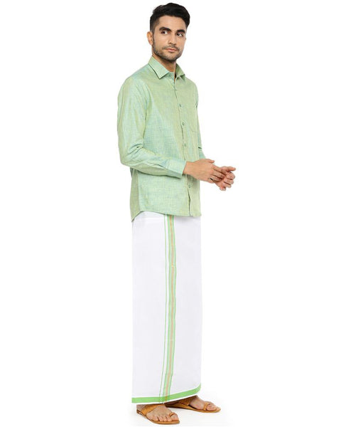 Varna Fancy Border Dhoti & Shirt Set Full Sleeves Summer Green