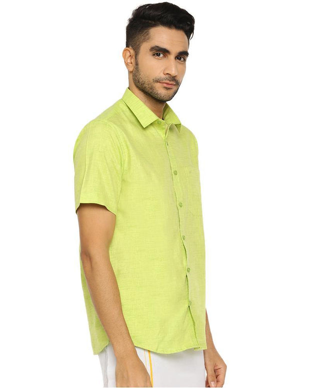 Varna Fancy Border Dhoti & Shirt Set Half Sleeves Pale Green