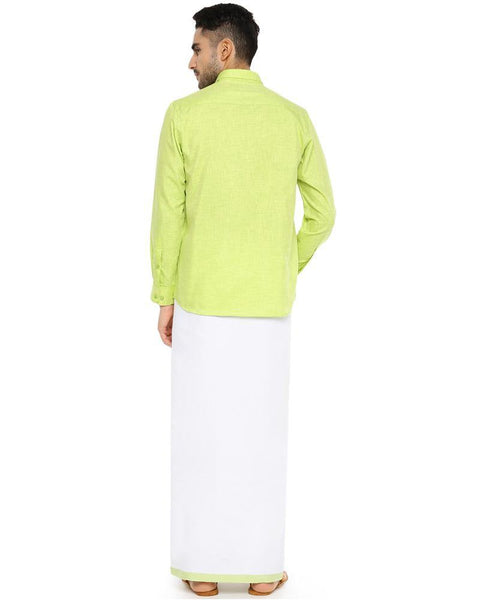 Varna Fancy Border Dhoti & Shirt Set Full Sleeves Pale Green