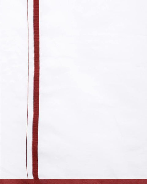Popular - Single Dhoti With Maroon Big Border