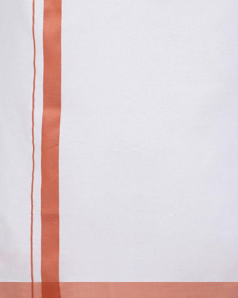 Varna Fancy Border Dhoti & Shirt Set Full Sleeves Rosy Brown