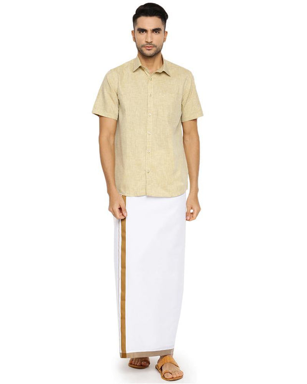 Varna Fancy Border Dhoti & Shirt Set Half Sleeves Tan