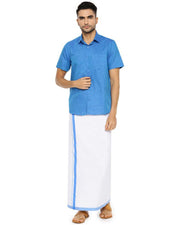 Varna Fancy Border Dhoti & Shirt Set Half Sleeves Royal Blue