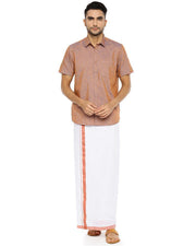 Varna Fancy Border Dhoti & Shirt Set Half Sleeves Rosy Brown