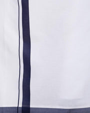Varna Fancy Border Dhoti & Shirt Set Full Sleeves Navy Blue