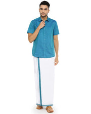 Varna Fancy Border Dhoti & Shirt Set Half Sleeves Ramar Blue