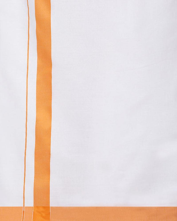 Varna Fancy Border Dhoti & Shirt Set Full Sleeves Orange