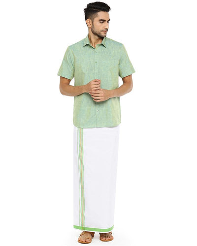 Varna Fancy Border Dhoti & Shirt Set Half Sleeves Summer Green