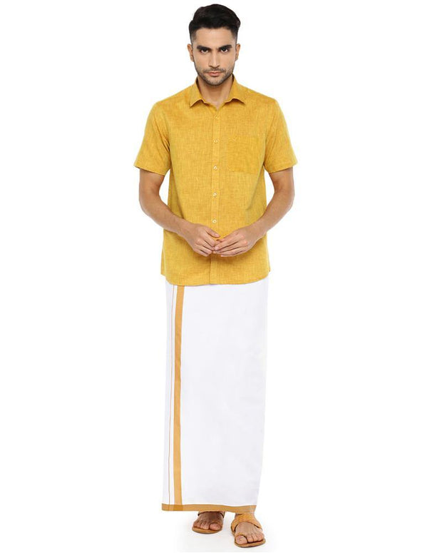 Varna Fancy Border Dhoti & Shirt Set Half Sleeves Golden Rod