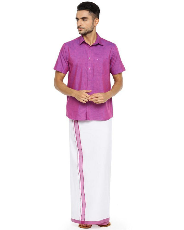 Varna Fancy Border Dhoti & Shirt Set Half Sleeves Light Purple
