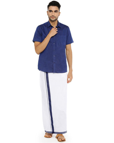 Varna Fancy Border Dhoti & Shirt Set Half Sleeves Navy Blue
