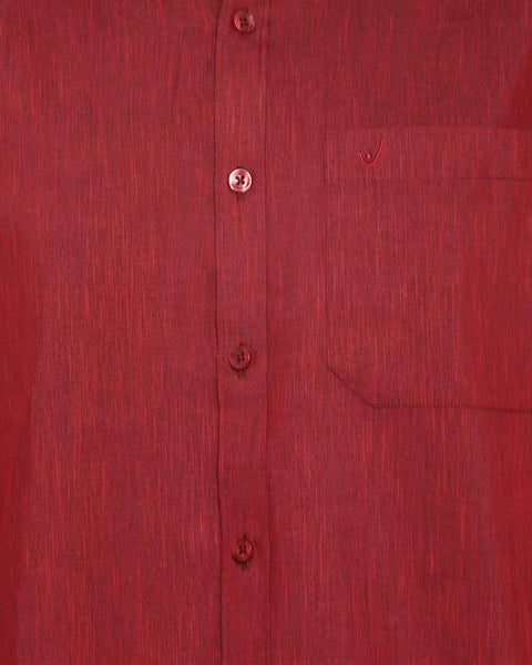 Varna Fancy Border Dhoti & Shirt Set Full Sleeves Maroon
