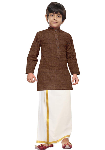 Brown Kurta + Dhoti 2in1 Set