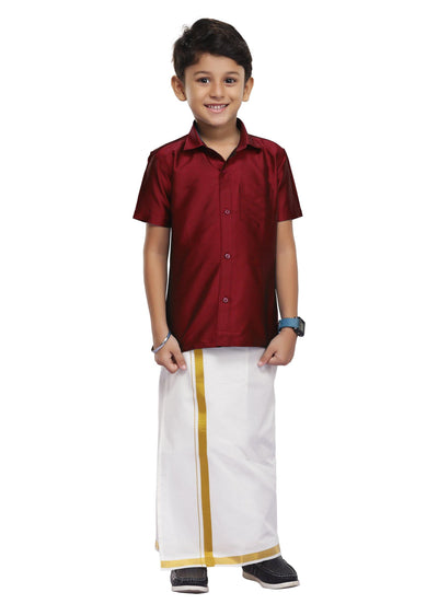 Maroon Kids Shirt + Dhoti 2 In 1 Set (01)