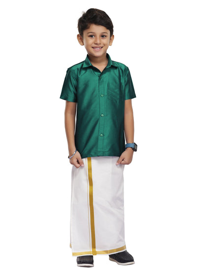 Dark Green Kids Dhoti 2 In 1 Set (05)