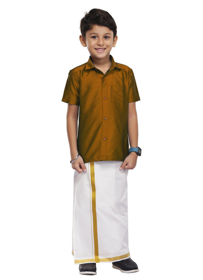 Golden Brown Kids Dhoti 2 In 1 Set (06)