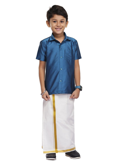 Dark Blue Kids Dhoti 2 In 1 Set (12)