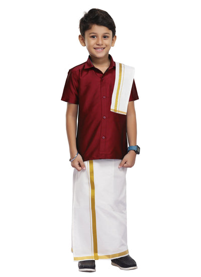 Maroon Kids Shirt + Dhoti +Towel 3 In 1 Set (01)
