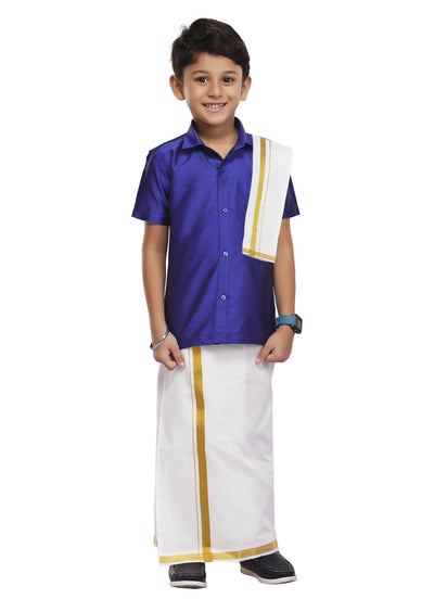 Violet Kids Shirt + Dhoti + Towel  3 In 1 Set (03)