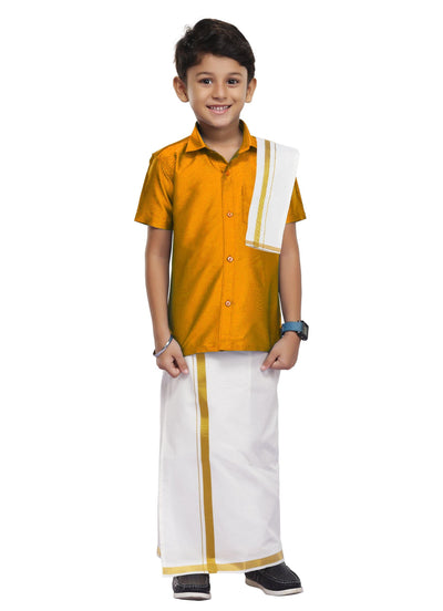 Yellow Kids Shirt +Dhoti+ Towel 3 In 1 Set (08)