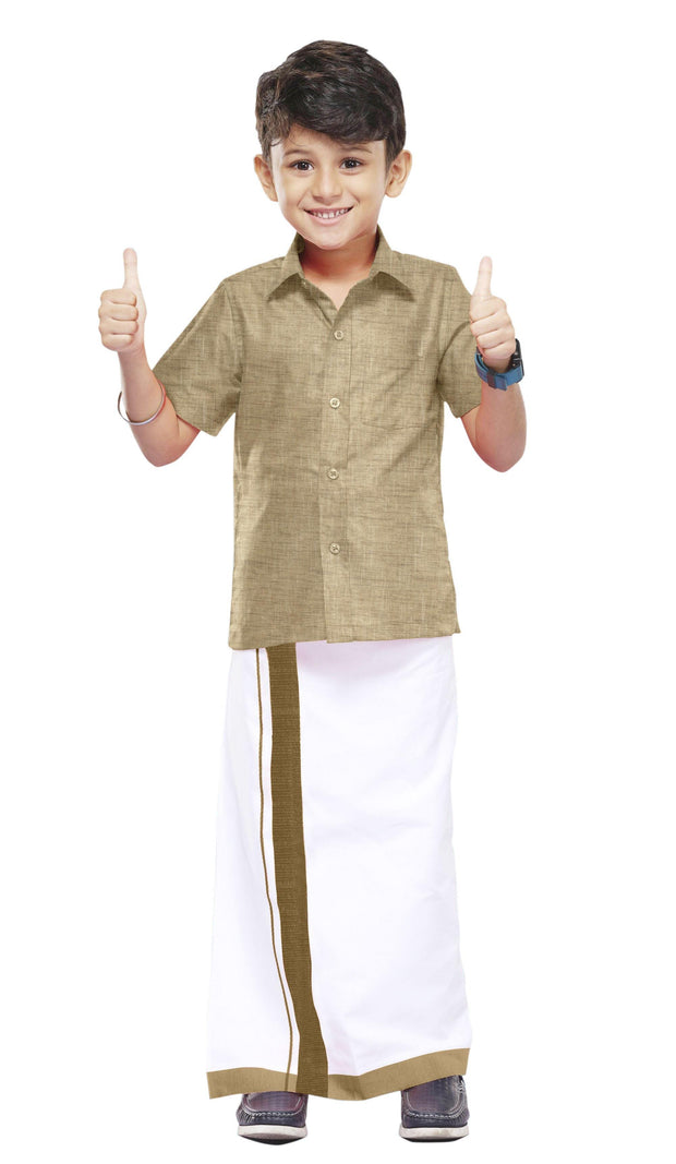 Varna Kids Tan Color Dhoti & Shirt Set