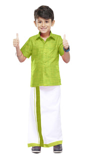Varna Kids Pale Green Dhoti & Shirt Set