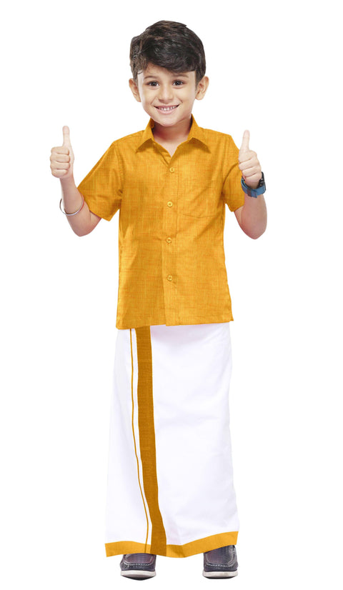 Varna Kids Yellow Dhoti & Shirt Set