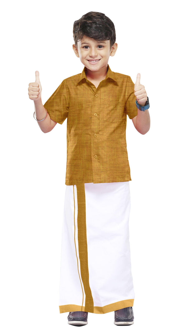 Varna Kids Golden Dhoti & Shirt Set