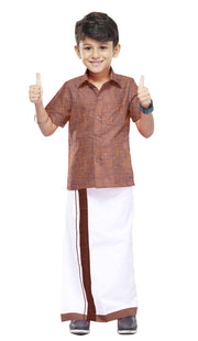 Varna Kids  Rosy Brown Dhoti & Shirt Set