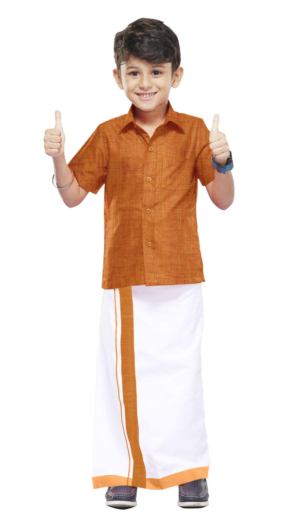 Varna Kids Orange Dhoti & Shirt Set