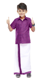 Varna Kids  Light Purple Dhoti & Shirt Set