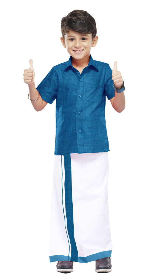Varna Kids Ramar Blue Dhoti & Shirt Set