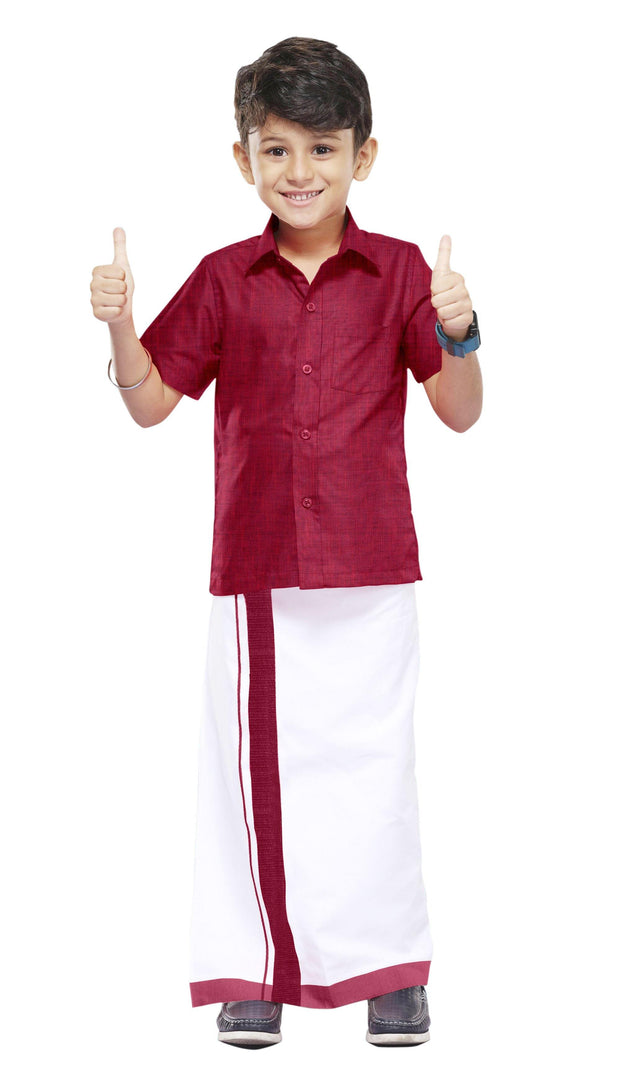 Varna Kids Soft Red Dhoti & Shirt Set
