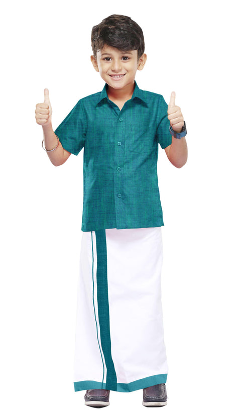 Varna Kids Green Dhoti & Shirt Set