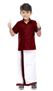 Varna Kids  Maroon Dhoti & Shirt Set
