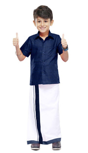 Varna Kids Navy Blue Dhoti & Shirt Set